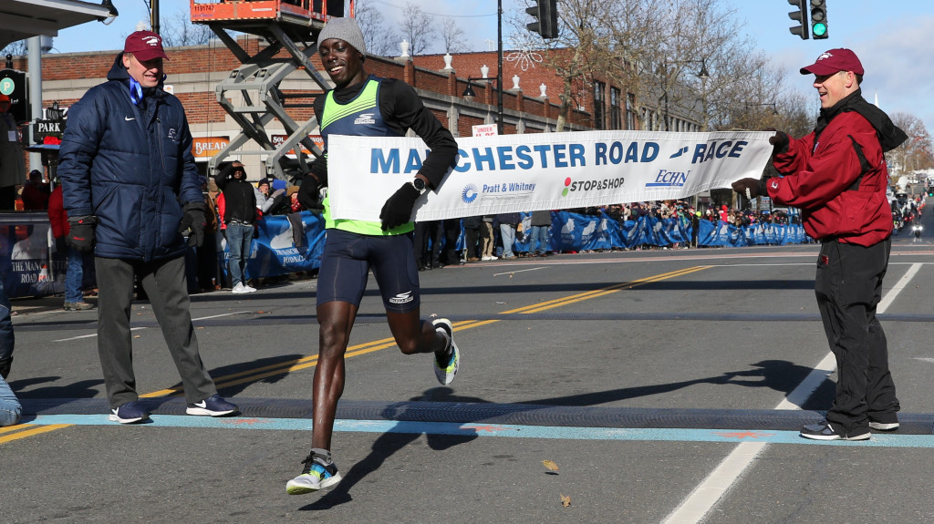 NCAA champ Cheserek breaks course record on a frigid day at the Manchester Road Race, and Celliphine Chespol of Kenya wins for the women runners