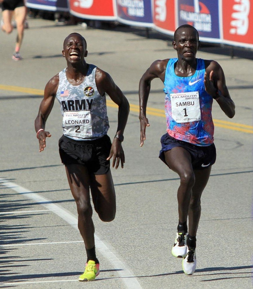 Stephen Sambu of Kenya and Leonard Korir of the U.S., Sara Hall and Des Linden will return for the 47th running of the New Balance Falmouth Road Race