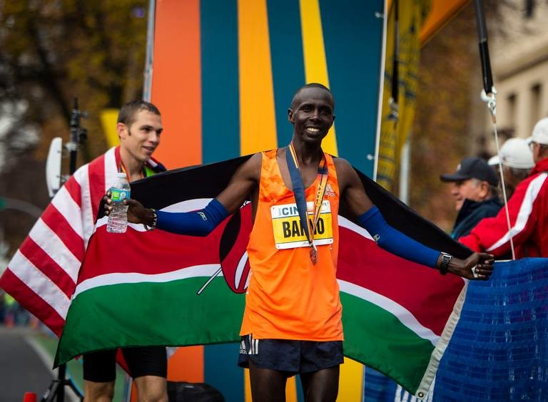 Kenyan Elisha Barno and Kenyan Jane Kibii claimed the top men's and women's at the 37th annual California International Marathon
