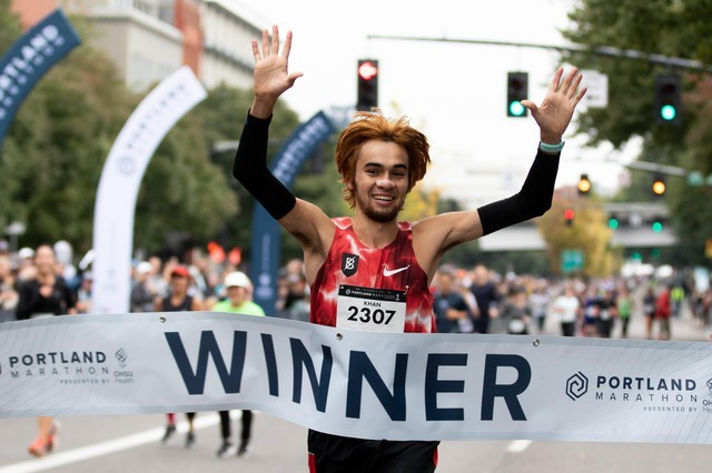 Kallin Khan, 22, Claims Victory At Portland Marathon on Sunday