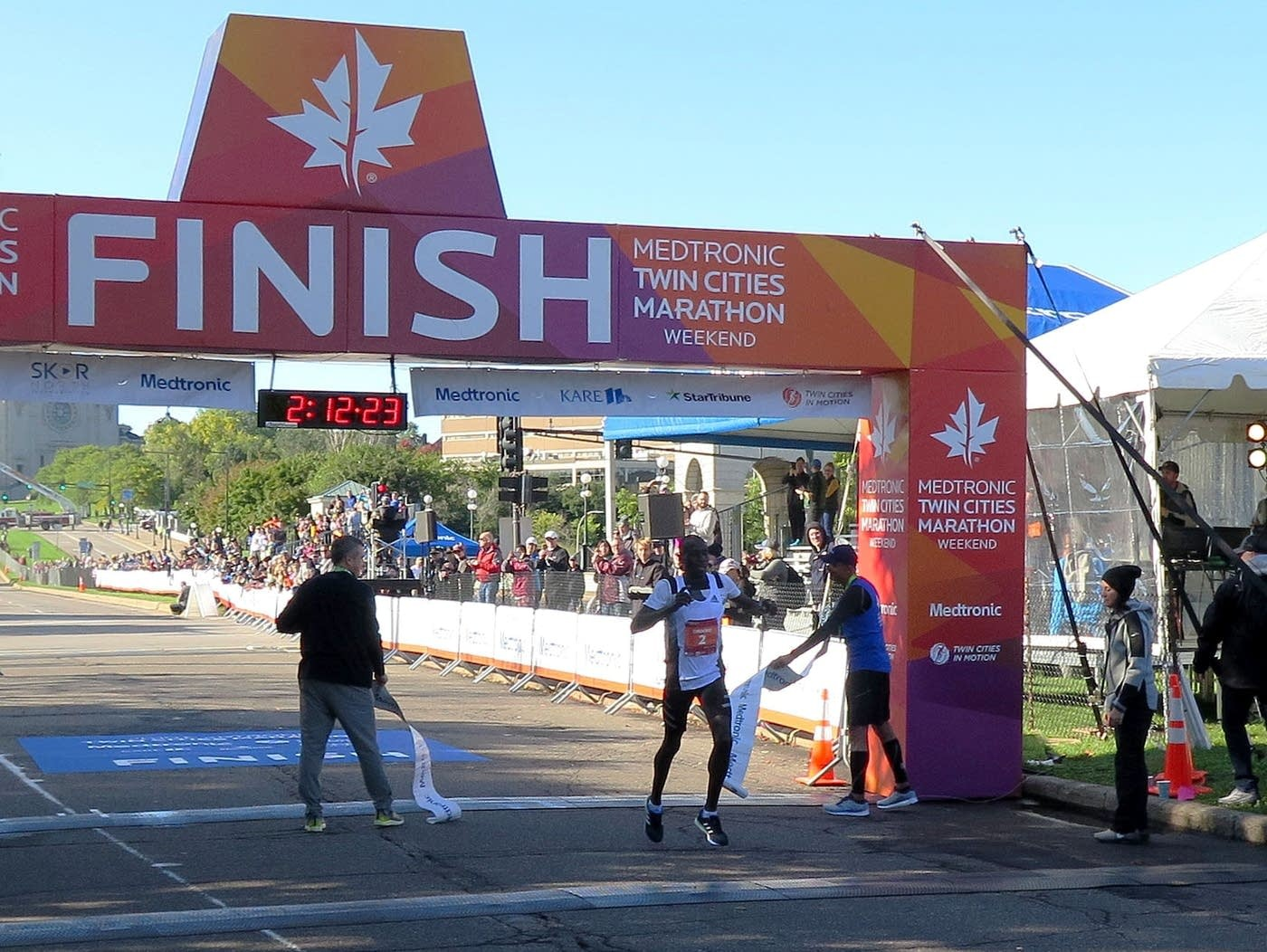 Dominic Ondoro of Kenya won the Medtronic Twin Cities Marathon on Sunday for a record-breaking fourth time
