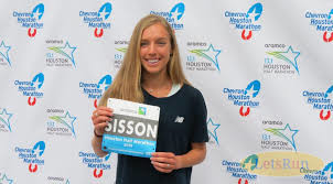 Emily Sisson is really focused on running a fast time Sunday at the Aramco Houston Half-Marathon
