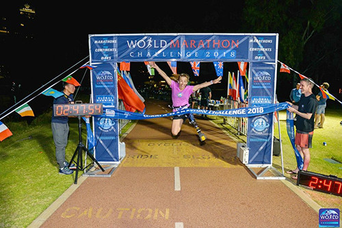 Sarah Reinertsen has been  the only amputee to have completed the World Marathon Challenge