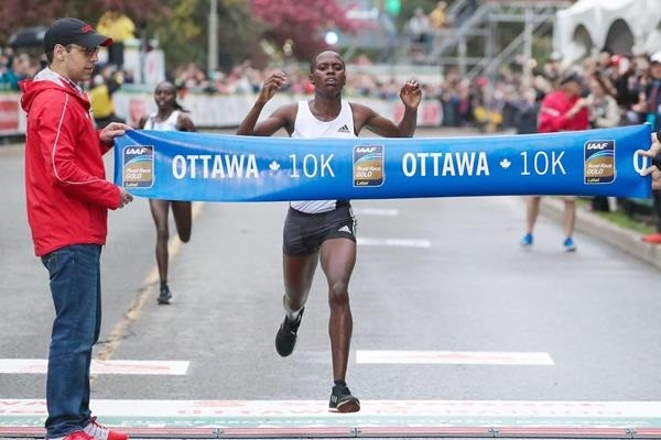 Kenyan Dorcas Kimeli finished first at the Ottawa 10k with heavy rainfall