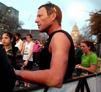 Lance Armstrong ran the Austin Marathon clocking 3:02:13 raising money for a program called Charity Chaser