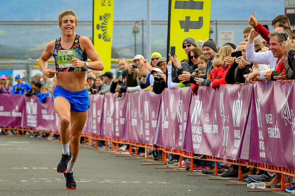 Sam Long claims the men title at the Kaiser Napa Valley Marathon