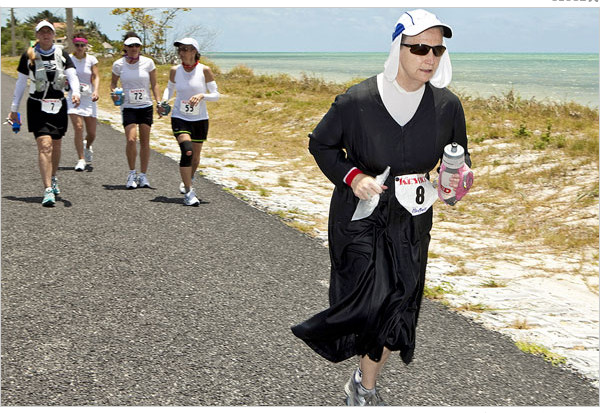 Sister Lloyd dresses a little different when she runs her many races for Orphans Rising
