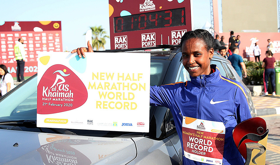 Ethiopia's Ababel Yeshaneh smashed the half marathon world record in Ras Al Khaimah