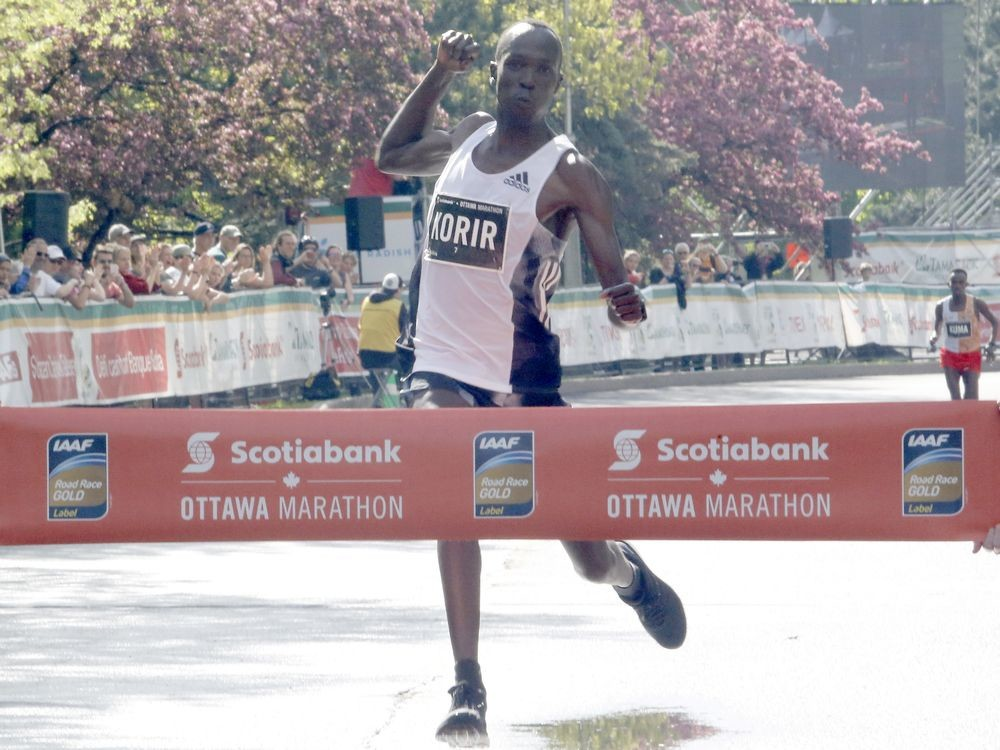 Albert Korir was the surprise winner of the Scotiabank Ottawa Marathon on Sunday