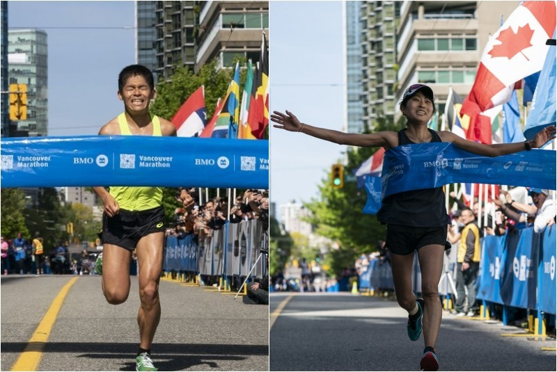 Yuki Kawauchi and fiancé Yuko Mizuguchi, yes fiancé won the BMO Vancouver Marathon titles