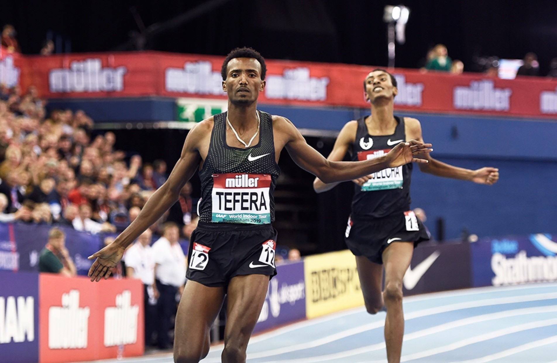 Samuel Tefera breaks long standing world indoor 1500m Record in Birmingham, Yomif was second