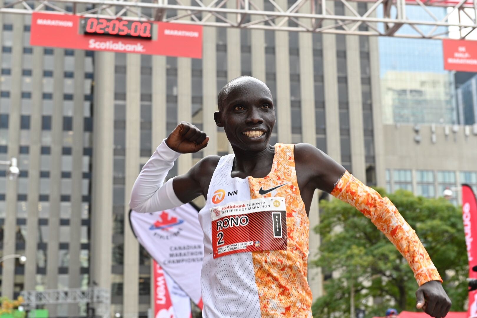Philemon Rono won the Scotiabank Toronto Waterfront Marathon for the third time on Sunday