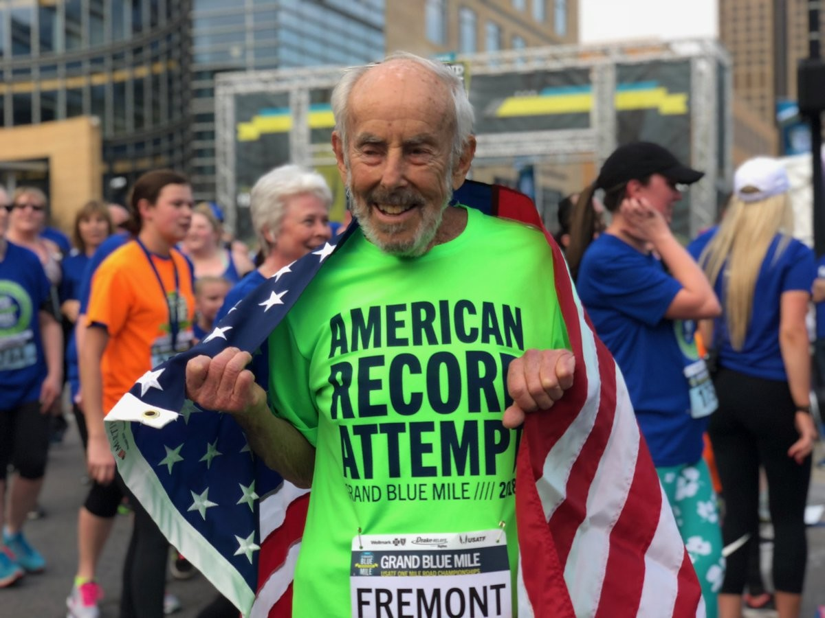 96-Year-Old Mike Fremont Sets American Record at Grand Blue Mile