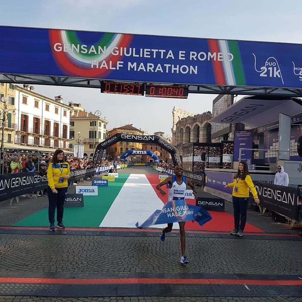 Joel Mwangi won the 13th Edition of the Verona Italy half marathon clocking a personal best of 1:00:40 the fastest half in Italy over the last year