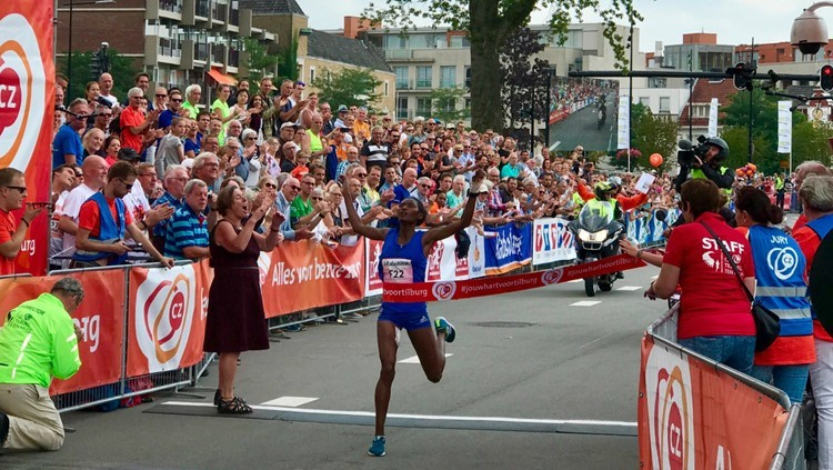 Ethiopian Senbere Teferi  looking to reach the podium at the Tilburg 10k race