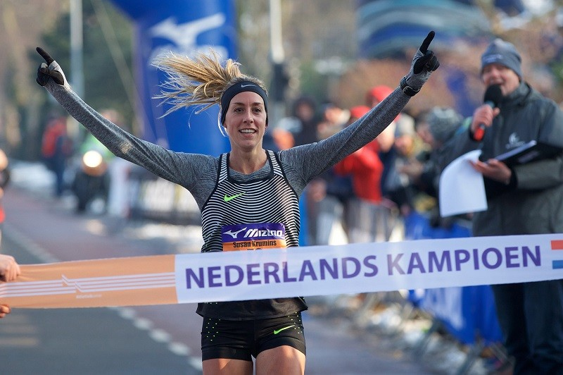 European silver 10000m winner Susan Krumins is running the Dam tot Damloop race