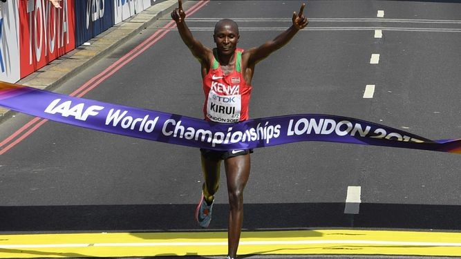 Kenyan Geoffrey Kirui says he is not under pressure to reclaim his title at the IAAF World Championships