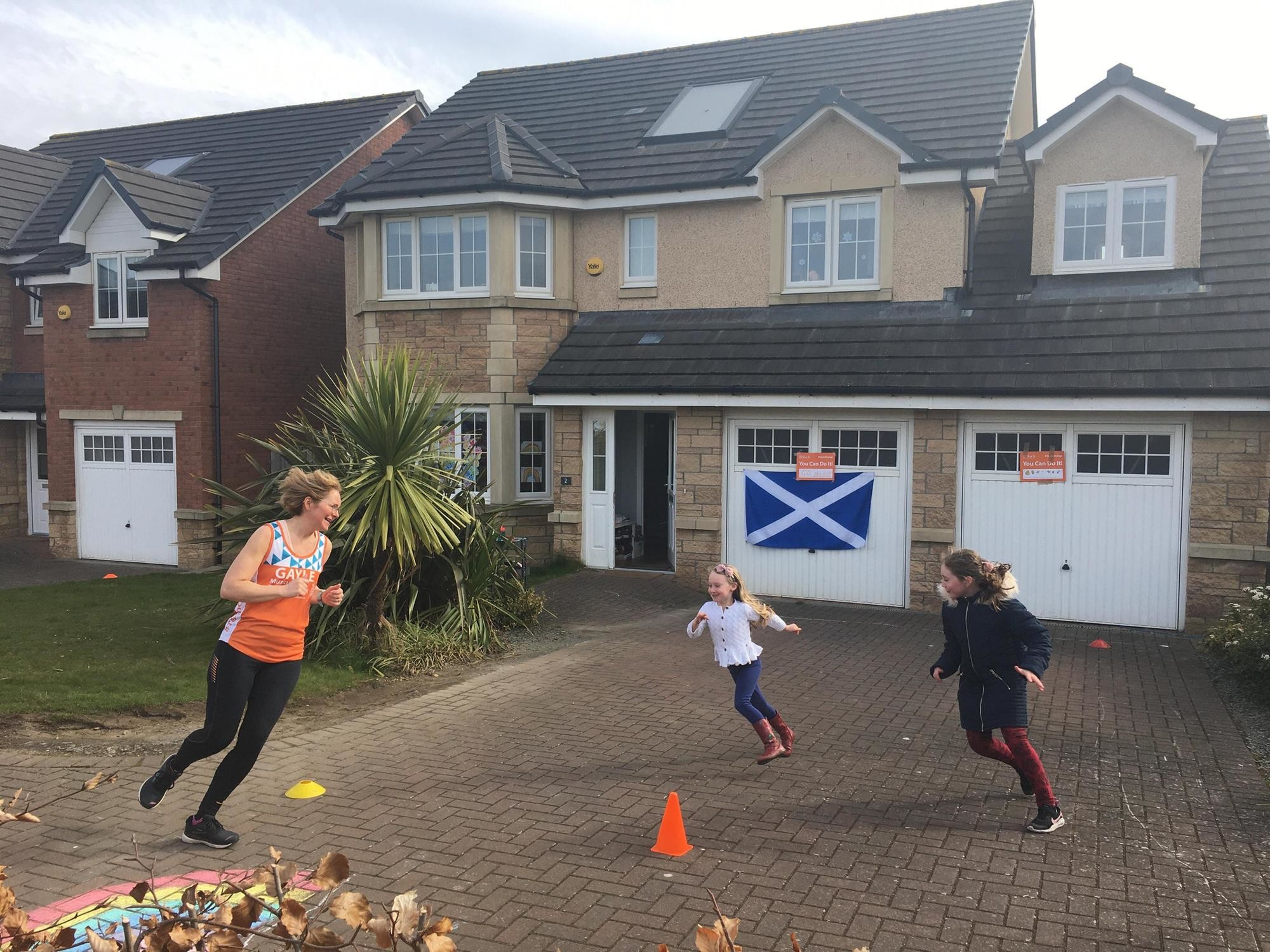 Gayle Hoy is a mother of three and she ran a marathon she had been training for  on her driveway