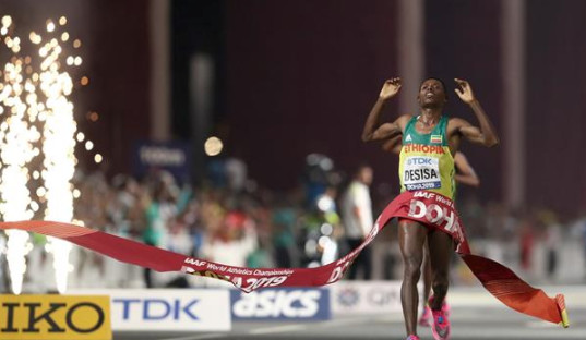 Lelisa Desisa wins the marathon at the IAAF World Athletic Championships in Doha