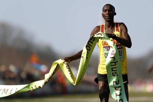Joshua Cheptegei takes the title by 25 meters at the senior men's race at the World Cross-Country Championships