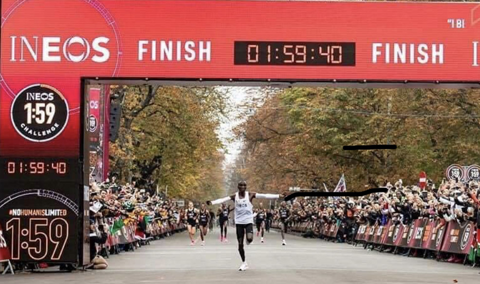 Eliud Kipchoge is now the first man to run 26.2 miles in less than two hours as he clocked 1:59:40 today