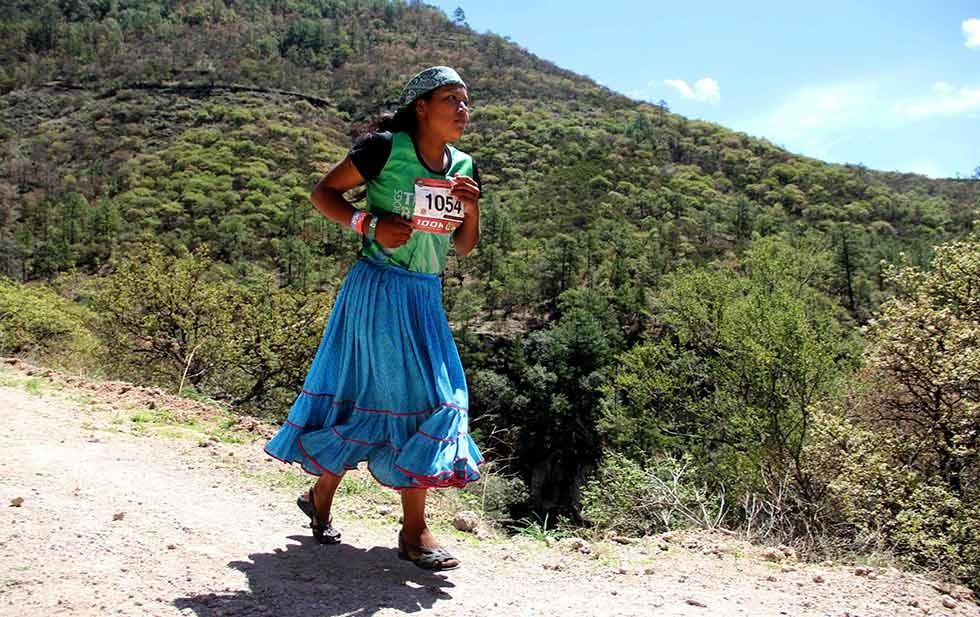 Top Ultra runner Lorena Ramírez runs in her traditional dress including basic sandals made from recycled tires