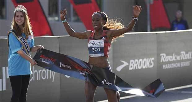 Ethiopian Meseret Defar won the women's Rock 'n' Roll San Diego Half Marathon