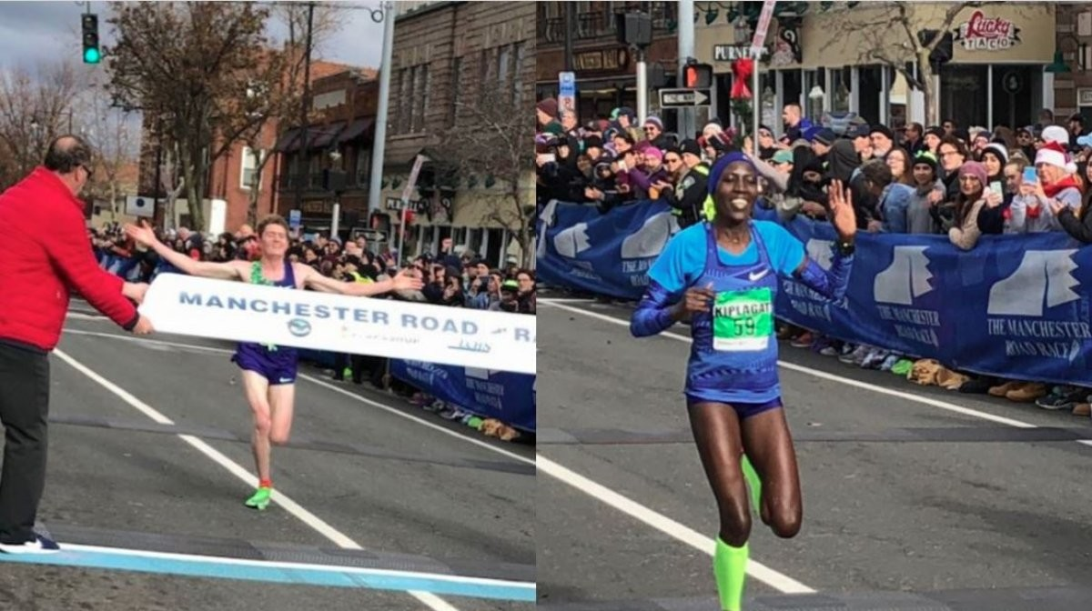 Eric Jenkins of Portland, Oregon win men's and Edna Kiplagat wins women's divisions of 83rd running of the Manchester Road Race