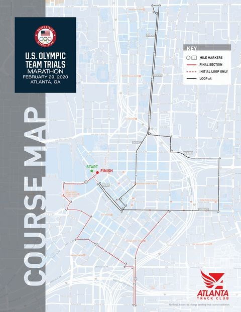 Atlanta Track Club and USA Track & Field unveiled the course map for the 2020 U.S. Olympic Team Trials