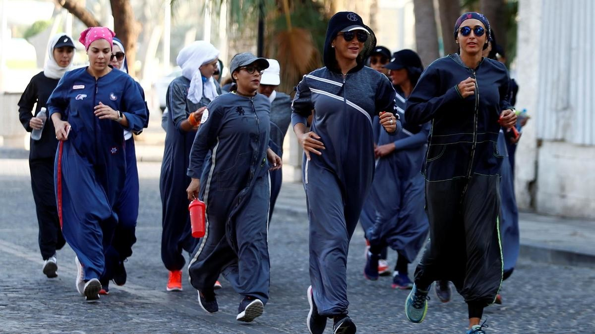 Some Saudi women are starting to run even on the streets but most women and men do no physical exercise