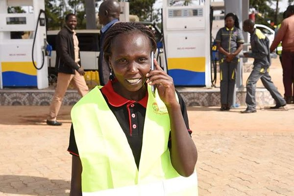 Marathoner runner Sylvia Kibet from Kenya, opens a second petrol station