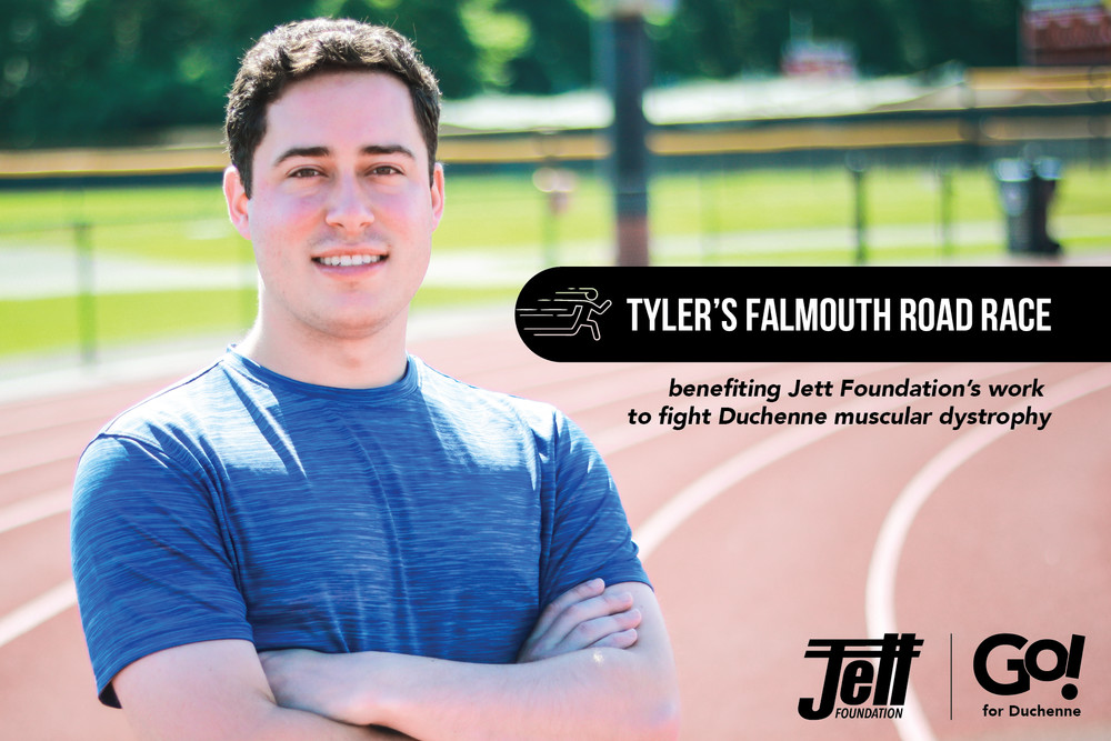 Tyler Diniz is running the Falmouth Road Race on behalf of Jett Foundation, a nonprofit fighting Duchenne muscular dystrophy