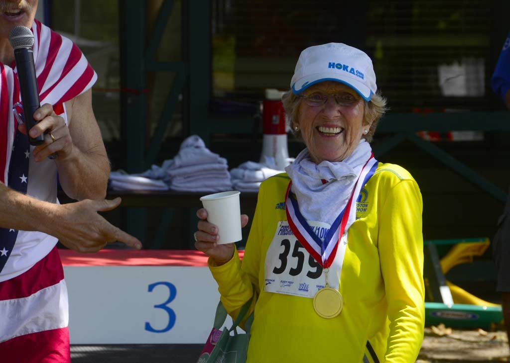 85-year-old Katherine Beiers was the oldest runner to battle the rain and wind Monday in Boston