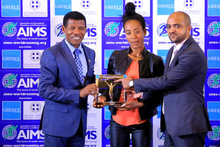 AIMS World Record Award has been presented to Ethiopia's Netsanet Gudeta