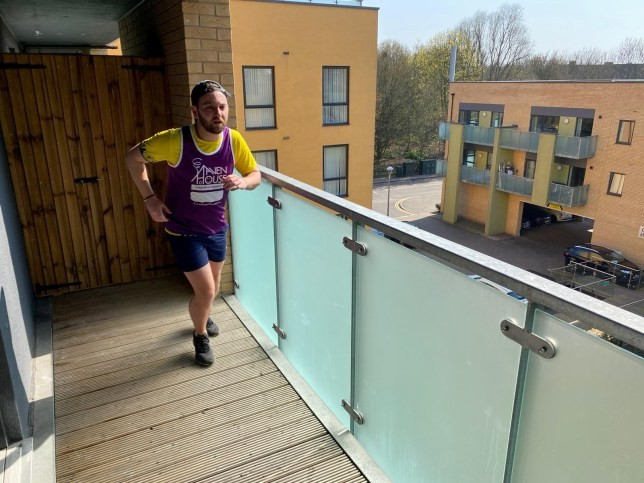 Sam Hustler, a determined runner has completed a half-marathon by jogging the length of his balcony 7,000 times