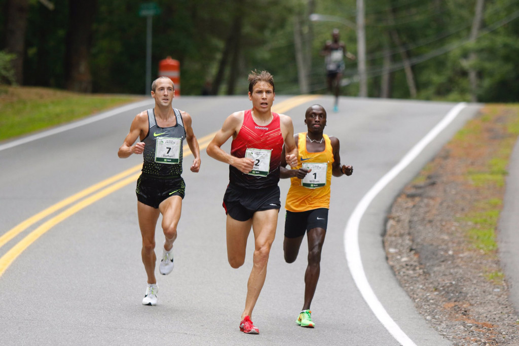 Ben True, Justyn Knight and Ben Flanagan, Two three and four at B.A.A 5K