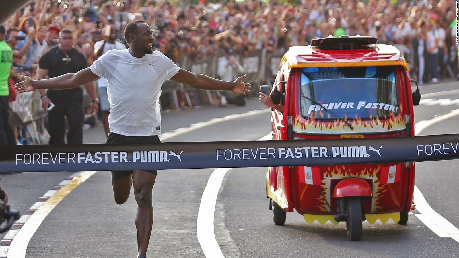 Eight-time Olympic gold medallist Usain Bolt competed against a tuk-tuk in the Peruvian capital Lima on Tuesday, and won