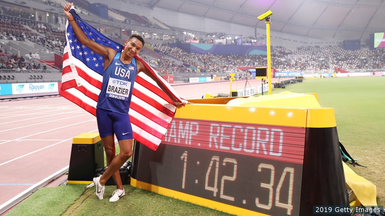 The reigning 800m world champion Donavan Brazier sees an NFL career in his future