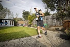 Kevin Webber runs his version of Marathon des Sables at home