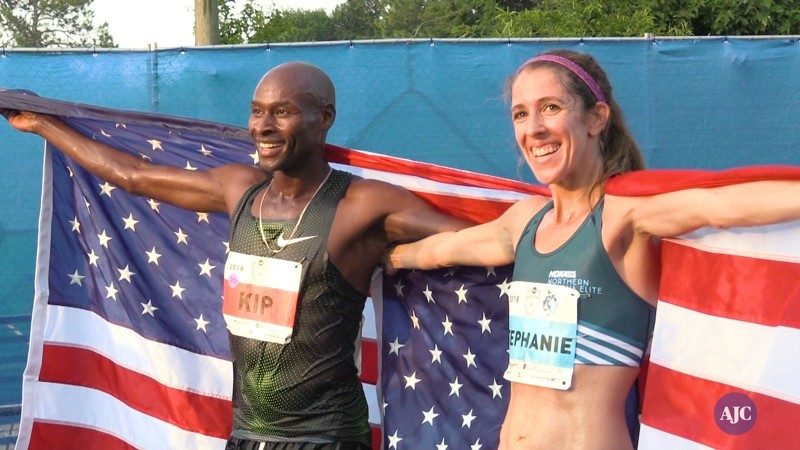 Stephanie Bruce wins the women's elite at the AJC Peachtree Road race