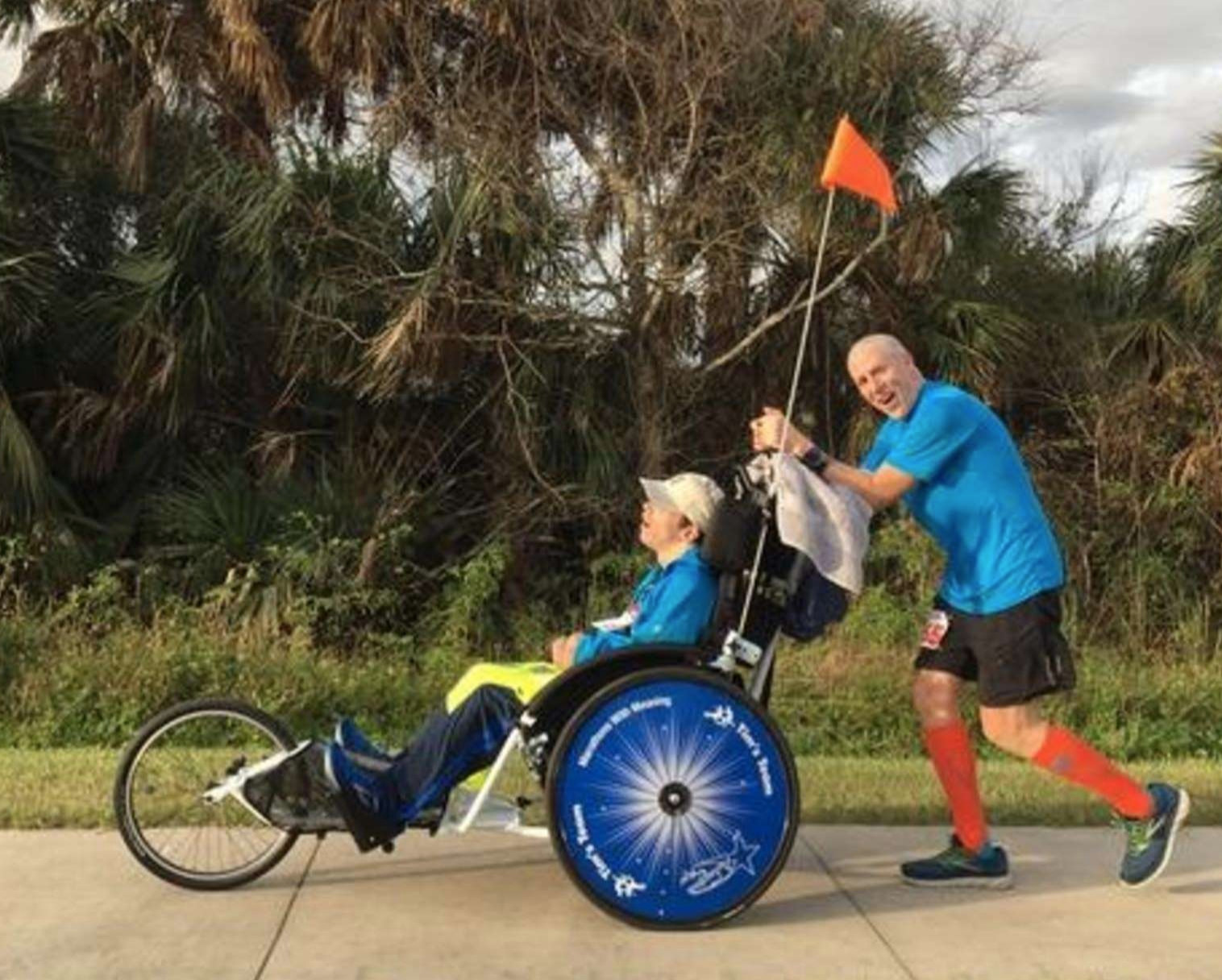Peter Kline has completed 45 marathons pushing young people with disabilities