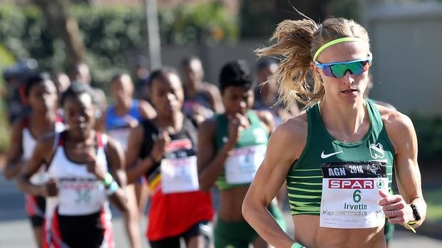 South Arrican's Irvette Van Zyl breaks the course record at the Soweto Marathon