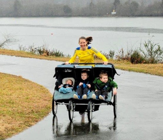 New Half Marathon Record for a Mom pushing a Triple Stroller with three kids onboard