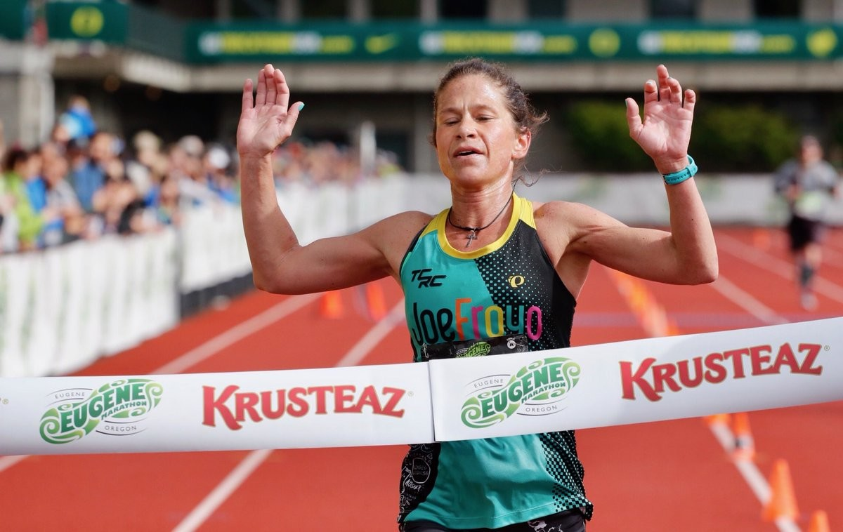 Kate Landau win's Eugene Marathon after being forced to drop out of Boston