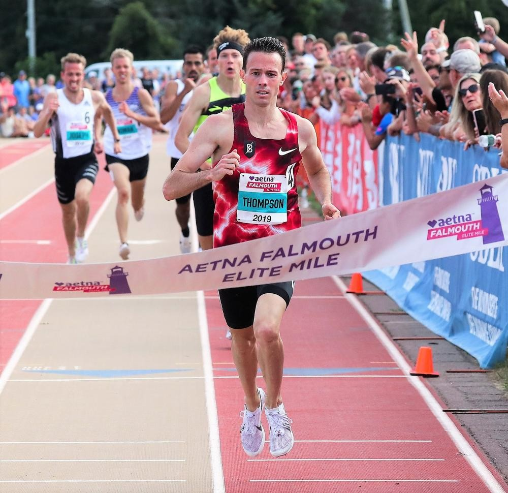 Josh Thompson and Cory McGee kicked their way to victories in the Aetna Falmouth Elite Mile this weekend
