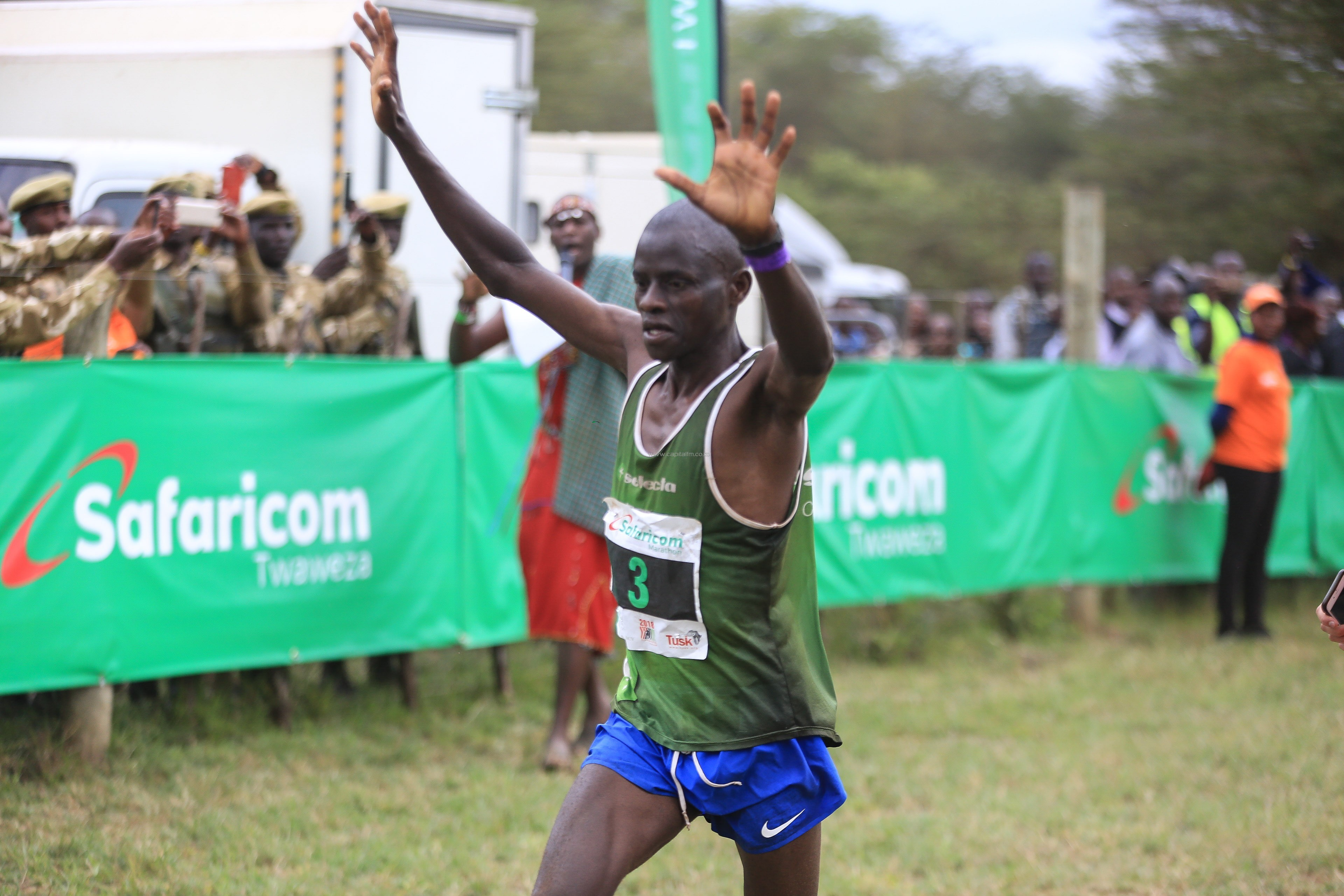 Philemon Mbaaru wins the Safaricom Lewa Marathon for the sixth time once Rhinos were cleared off the course