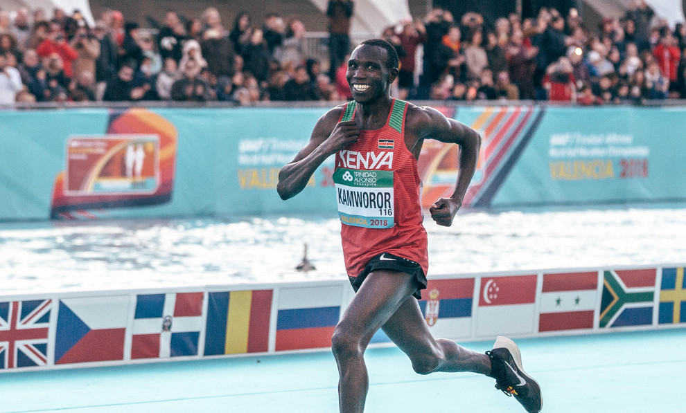 Geoffrey Kamworor wins third straight World Half title
