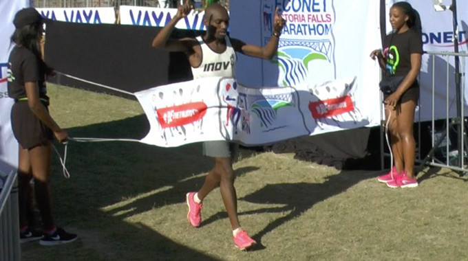 Christopher Gondwe was first to cross the finish line at Victoria Falls men's Marathon clocking 2:25:36