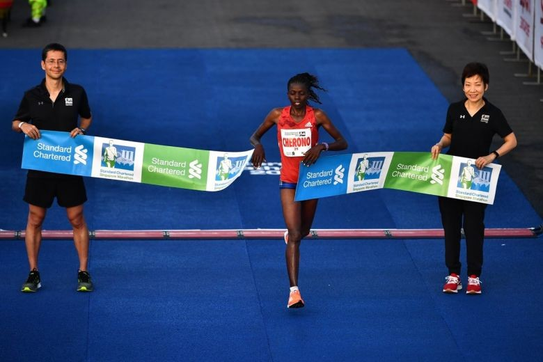 Priscah Cherono takes the Singapore Marathon title under very hot conditions