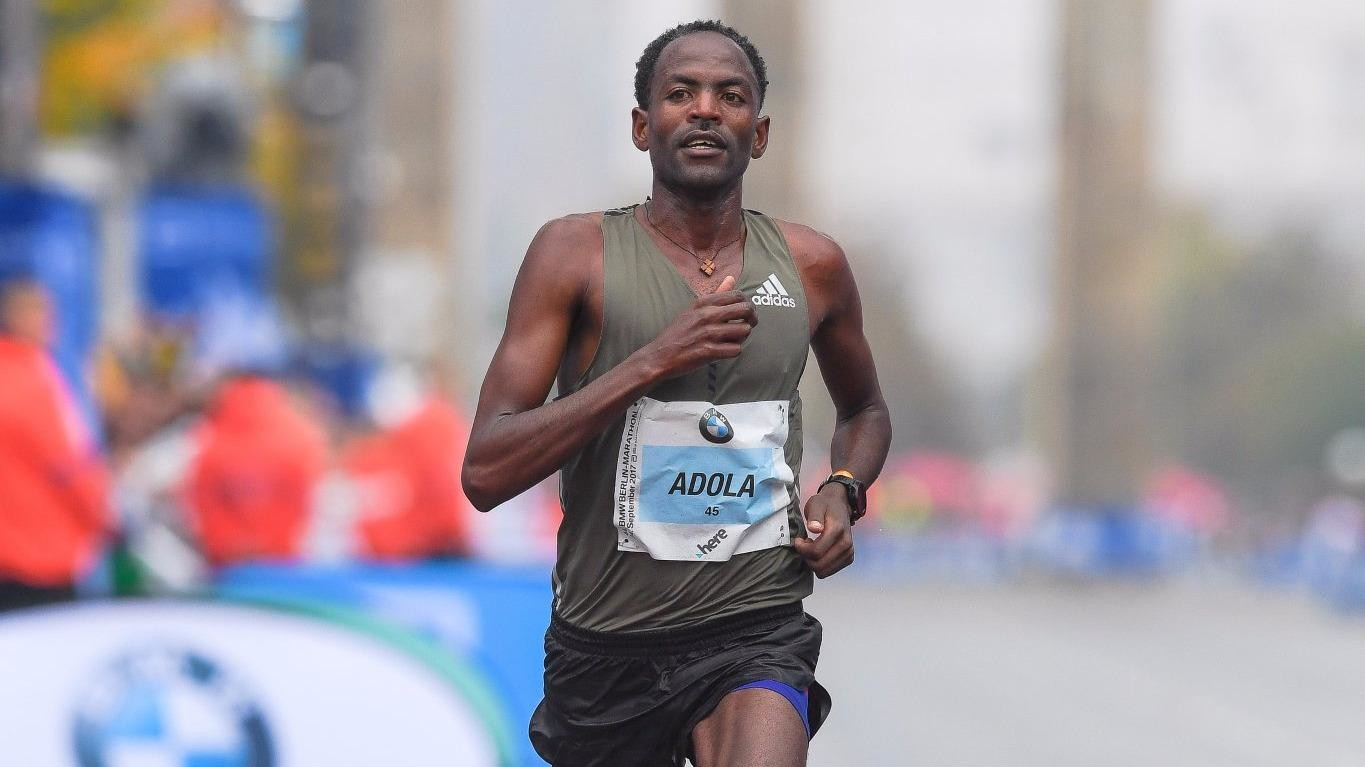 Ethiopia's Guyer Adola ran 2:03:46 for his first marathon is running his second marathon Oct 28 in Frankfurt